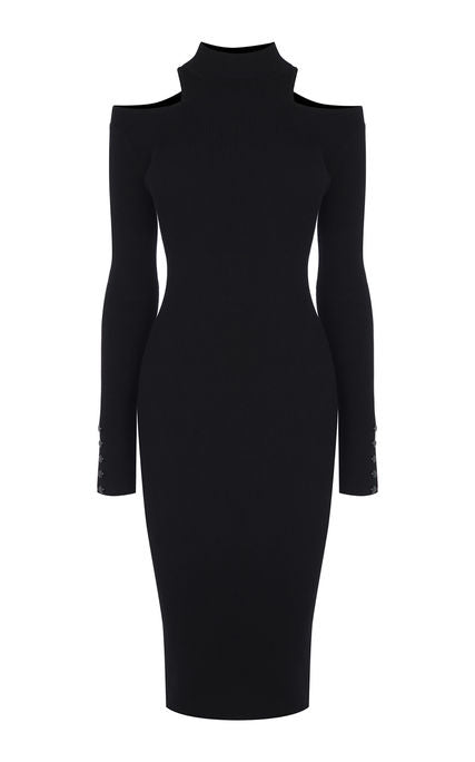 Karen Millen CUT-OUT KNITTED MIDI DRESS
