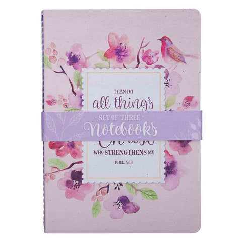 Philippians 4:13 Floral Inspirations (Set Of 3)(Medium Notebook Set)