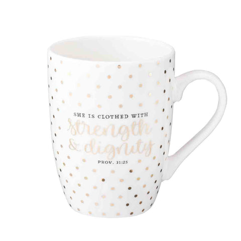 Proverbs 31:25 She Is Clothed With Strength & Dignity (Ceramic Mug)