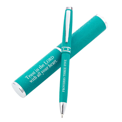 Proverbs 3:5 Trust In The Lord With All Your Heart Turquoise (Metal Pen In Tube)