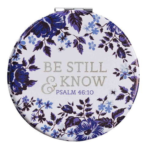 Psalm 46:10 Be Still & Know Blue Floral (Faux Leather Compact Mirror)