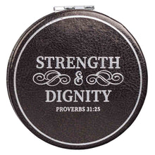 Load image into Gallery viewer, Proverbs 31:25 Strength & Dignity Black (LuxLeather Compact Mirror)