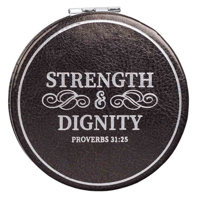 Proverbs 31:25 Strength & Dignity Black (Faux Leather Compact Mirror)