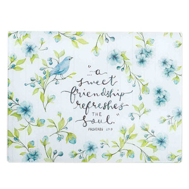 Proverbs 27:9 A Sweet Friendship Refreshes The Soul (Large Glass Cutting Board)