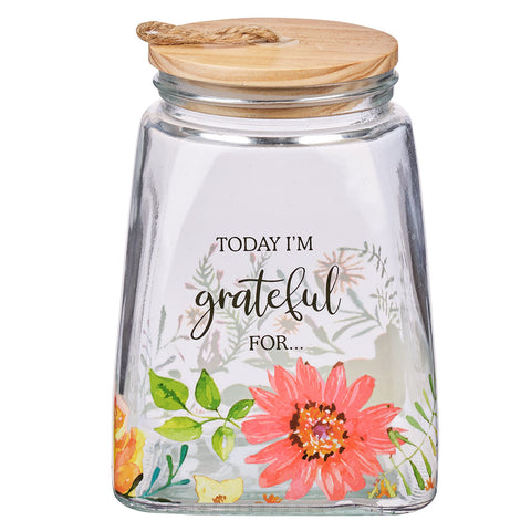 Today I'm Grateful For... (Glass Gratitude Jar)(With Cards)