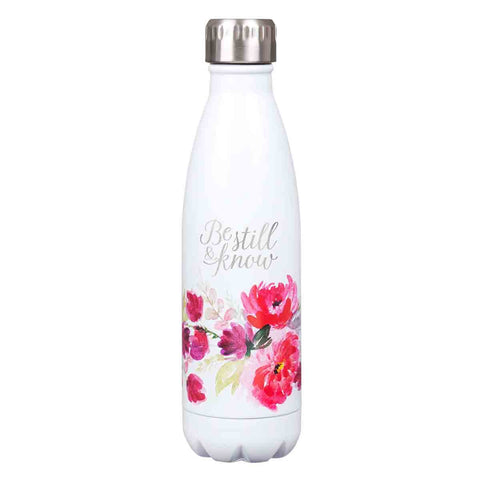 Be Still & Know White Floral (Stainless Steel Water Bottle)