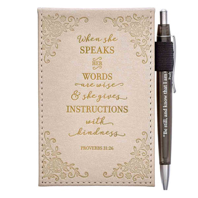 When She Speaks Her Words Are Wise (Faux Leather Notepad With Pen)
