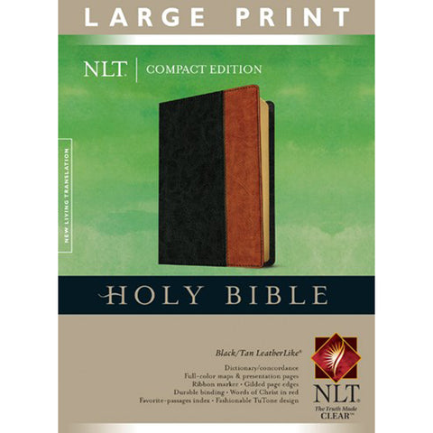 Load image into Gallery viewer, NLT Holy Bible Compact Edition Large Print Red Letter Black / Tan (Imitation Leather)