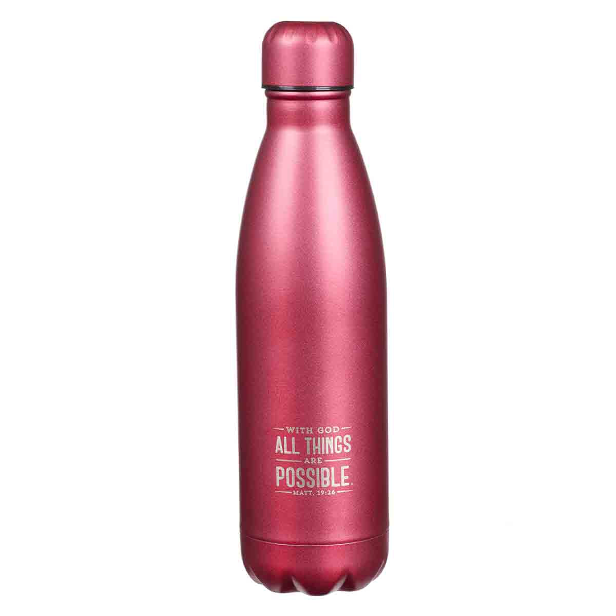 Matthew 19:26 With God All Things Are Possible (Stainless Steel Water Bottle)
