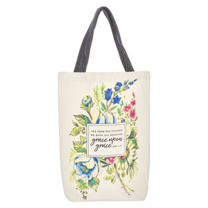 John 1:16 Grace Upon Grace (Cotton Canvas Tote Bag)