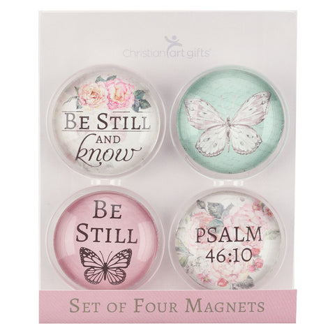 Be Still And Know Butterfly (Glass Magnet Set)