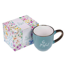 Load image into Gallery viewer, Be Joyful Teal (Ceramic Mug)