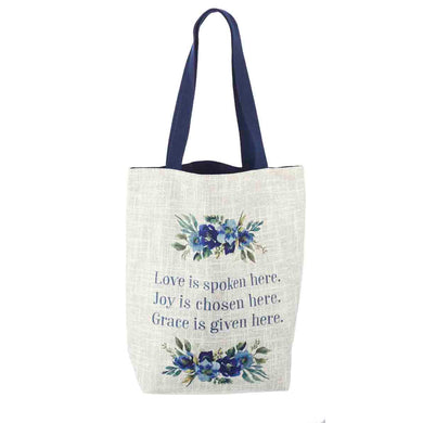 Love Is Spoken Here, Joy Is Chosen Here, Grace Is Given Here Light Grey (Cotton Canvas Tote Bag)