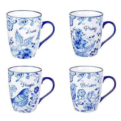 Believe, Hope, Pray & Love Ceramic Blue (Mug Set)