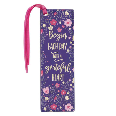 Begin Each Day With A Grateful Heart (Faux Leather Pagemarker)
