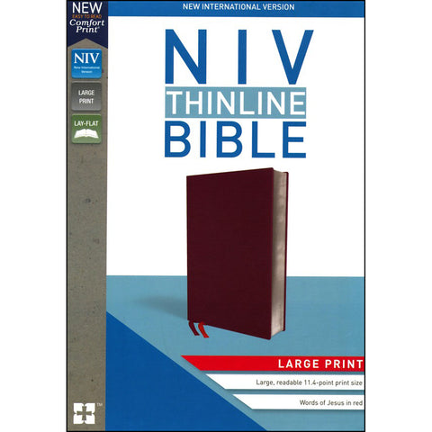 Load image into Gallery viewer, NIV Thinline Bible Large Print Burgundy Red Letter Edition(Comfort Print)(Bonded