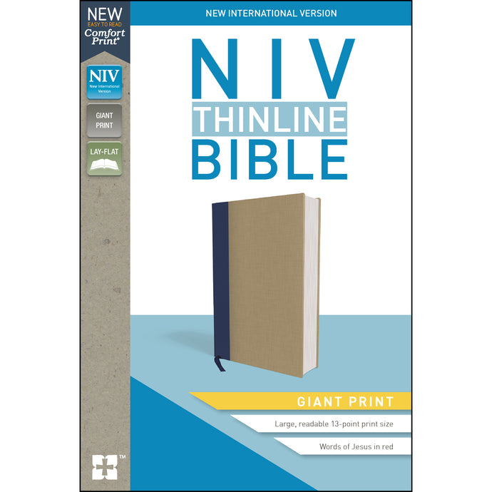 NIV Thinline Bible Giant Print Blue / Tan Red Letter Edition (Hardcover)