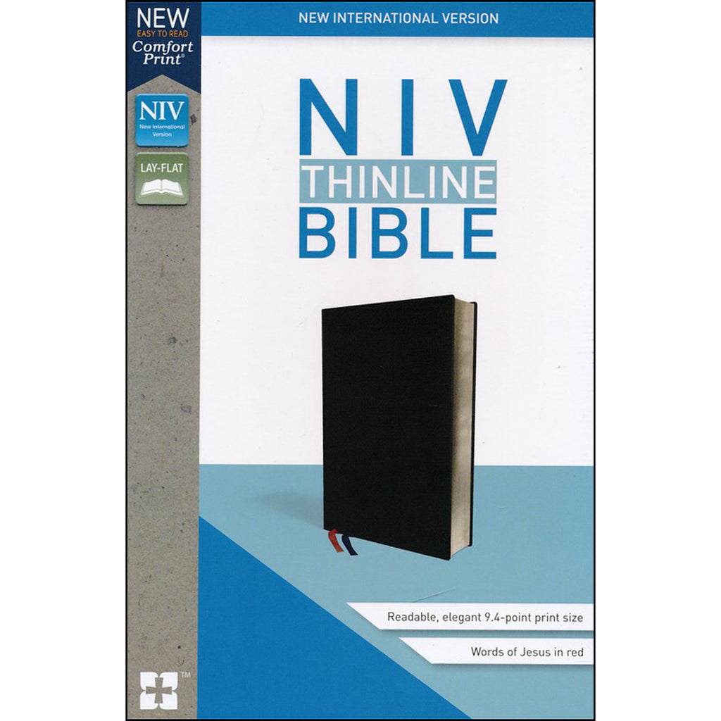 NIV Thinline Bible Black Red Letter Edition (Comfort Print)(Bonded Leather)