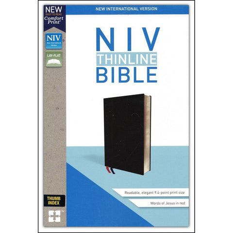 Load image into Gallery viewer, NIV Thinline Bible Black Indexed Red Letter Edition(Comfort Print)(Bonded Leathe