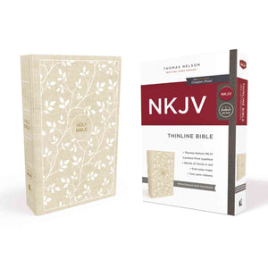 NKJV Thinline Bible Standard Print Red Letter White / Tan Cloth Over Board (Comfort Print)(Hardcover)