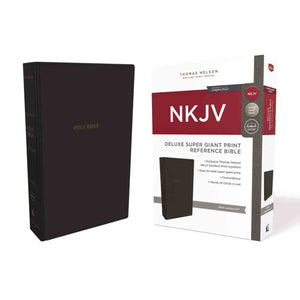 NKJV Deluxe Reference Bible Red Letter Super Giant Print Black (Imitation Leather)