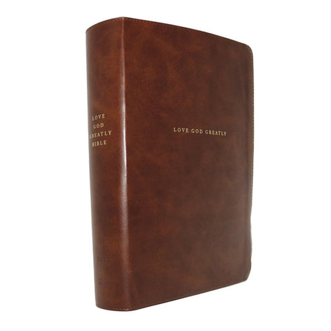 NET Love God Greatly Bible Indexed Brown (Comfort Print)(Imitation Leather)