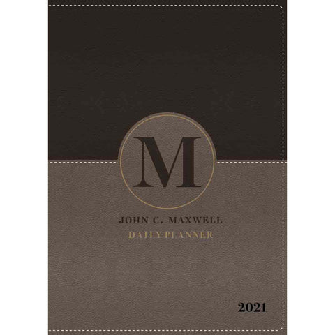 John C. Maxwell Daily Planner 2021 Stone With Zip (Faux Leather)