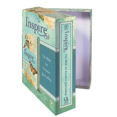 Load image into Gallery viewer, NLT Inspire Bible Silky-Soft Printed Blue / Cream (Faux Leather)