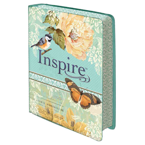 NLT Inspire Bible Silky-Soft Printed Blue / Cream (LuxLeather)
