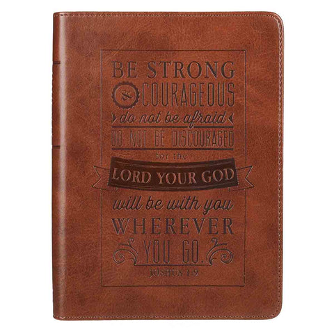 Joshua 1:9 Be Strong And Courageous (Handy Sized LuxLeather Journal)