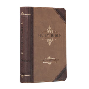 KJV Giant Print Standard Tan/Brown Red Letters (LuxLeather)
