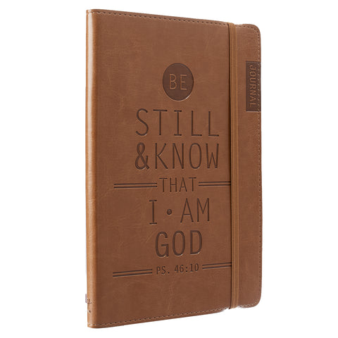 Load image into Gallery viewer, Psalm 46:10 Be Still And Know That I Am God Brown (Faux Leather Journal)