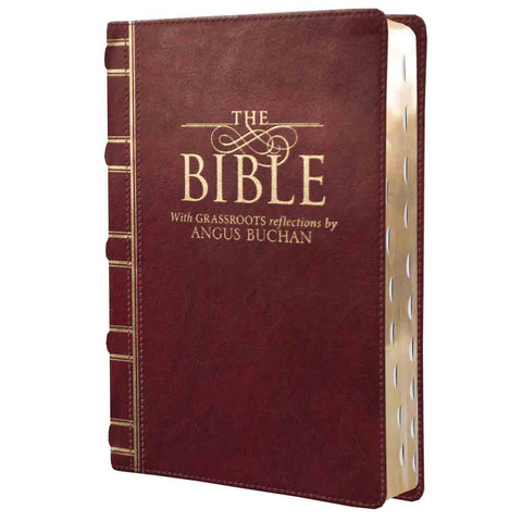 NKJV Bible With Grassroots Reflections Burgundy Thumb Indexed (Leather)