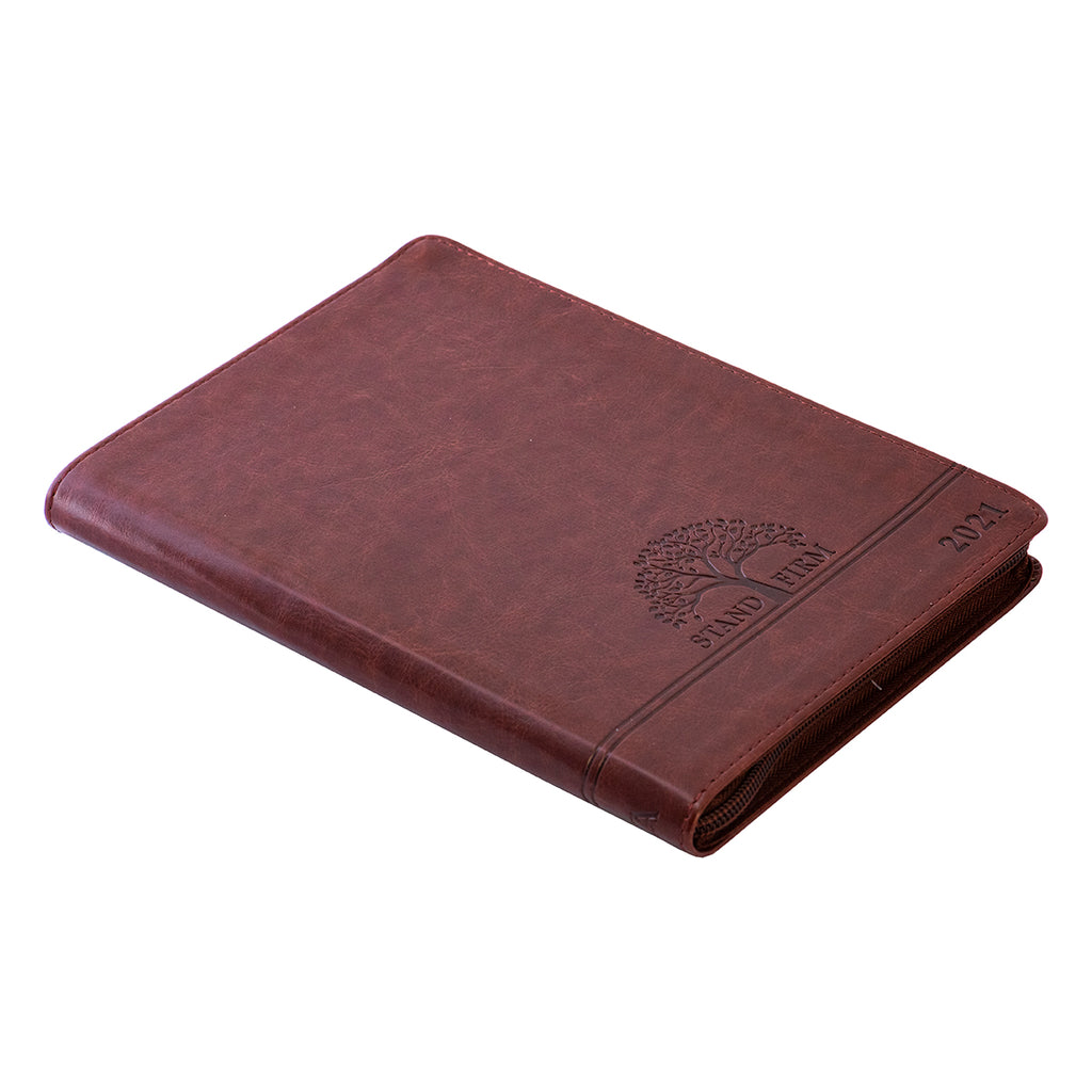 Executive Planner 2021 Brown/Stand Firm With Zip (Faux Leather)