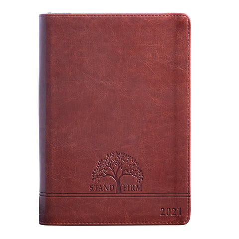 Executive Planner 2021 Brown/Stand Firm With Zip (LuxLeather)