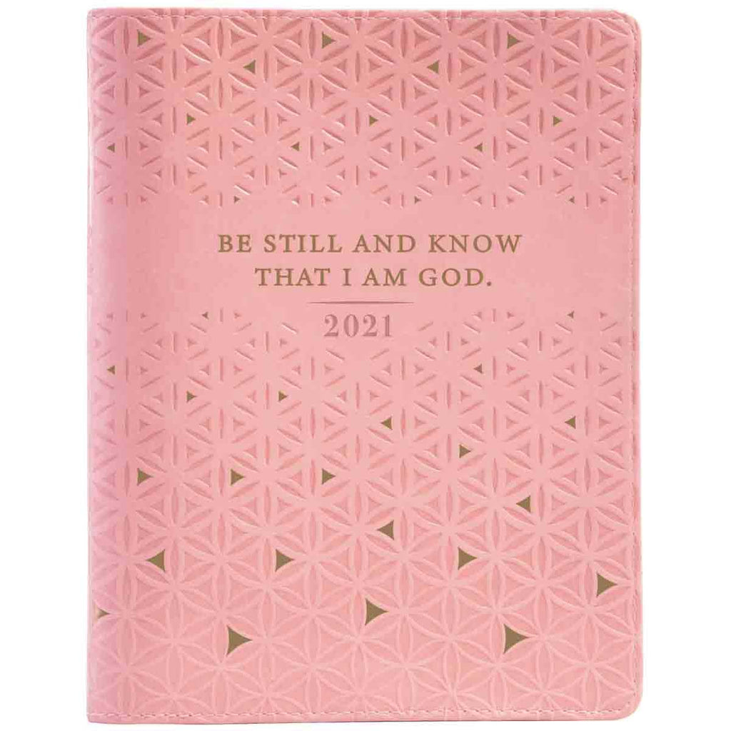 Daily Planner for Women 2021 Large with Zip Pink/Be Still (Faux Leather)
