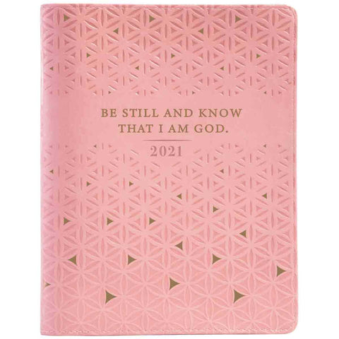 Load image into Gallery viewer, Daily Planner for Women 2021 Large with Zip Pink/Be Still (Faux Leather)