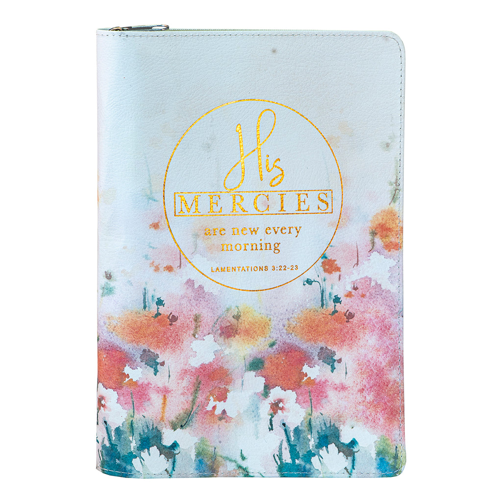 Daily Planner for Women 2021 Large with Zip Floral/His Mercies (Faux Leather)