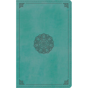 ESV Large Print Personal Size Bible Turquoise Emblem Design (Imitation Leather)