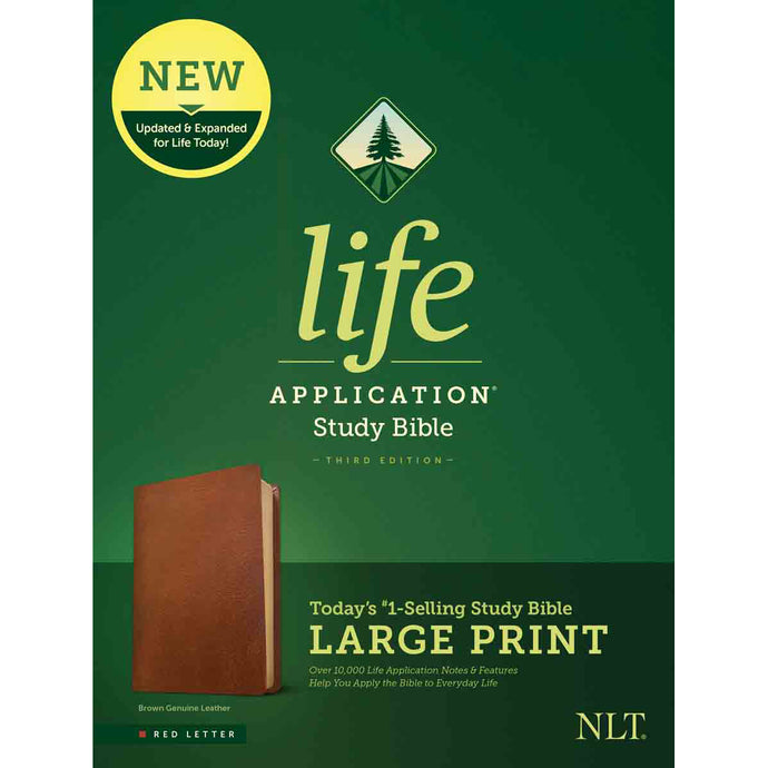 NLT Life Application Study Bible, Third Edition Large Print Red Letter Brown (Genuine Leather)