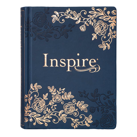 NLT Inspire Bible Navy (Hardcover LuxLeather)