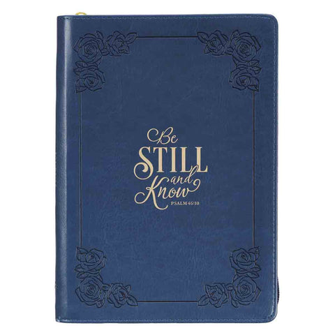 Psalm 46:10 Be Still And Know Journal Navy Blue (Faux Leather Journal With Zipped Closure)