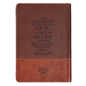 John 3:16 Cross Zippered Two-Tone Brown (LuxLeather Journal)