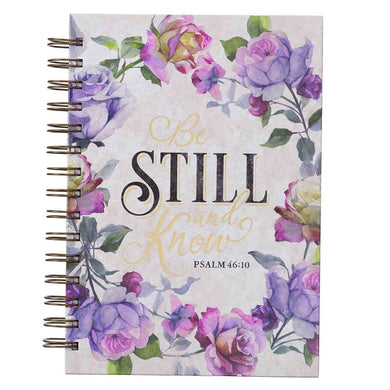 Psalm 46:10 Be Still And Know Purple Florals (Large Wirebound Journal)