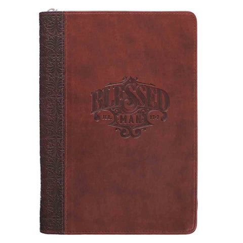 Jeremiah 17:7 Blessed Man Quarter-bound Brown With Zip Closure (LuxLeather Journal)