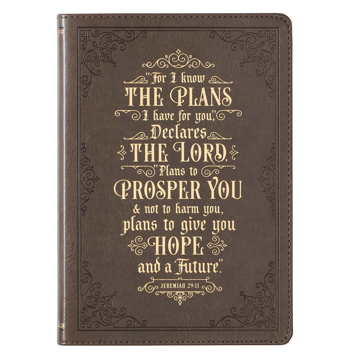 I Know The Plans Jeremiah 29:11 Brown (Faux Leather Journal)