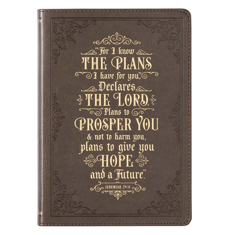 Load image into Gallery viewer, I Know The Plans Jeremiah 29:11 Brown (Faux Leather Journal)