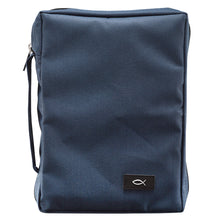Load image into Gallery viewer, With Fish Navy Blue (Polyester Bible Bag)