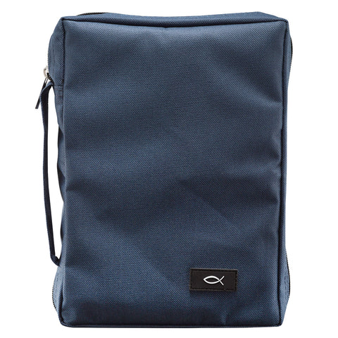 With Fish Navy Blue (Polyester Bible Bag)