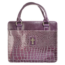 Load image into Gallery viewer, Croc-Embossed With Cross Purple (LuxLeather Bible Bag)